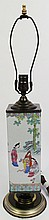 CHINESE SQUARE FORM BOTTLE MOUNTED AS A LAMP.  With famille decoration.  Bottle  is 11 1/2