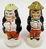 OLD STAFFORDSHIRE TOBY FIGURAL SHAKERS.  5 1/2