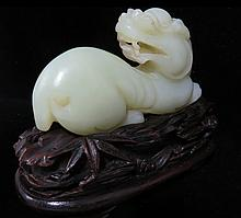 Qing Dynasty Carved White Jade Foo-Lion