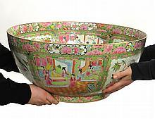 Huge 19 C. Rose Medallion Porcelain Bowl