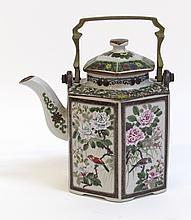 Hexagonal Chinese Lidded Porcelain Teapot