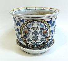 Jardiniere With Birds And Bottom Saucer