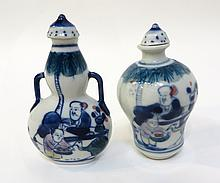 Two Blue & White Snuff Bottles