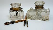 Antique Glass Inkwells And Pens
