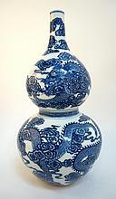 Double Gourd Blue & White Dragon Vase