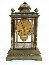 Gilt Brass, Champleve Enamel & Paste Set Clock