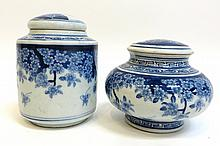 Two Blue & White Inkwells