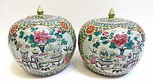 Pair Famille Rose Lidded Jars
