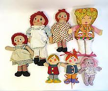 Three Raggety Anne Dolls & Four Other Fabric Dolls