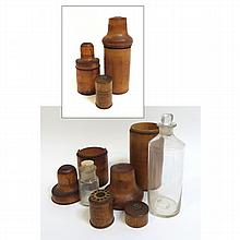 Three Treenware Travel Containers
