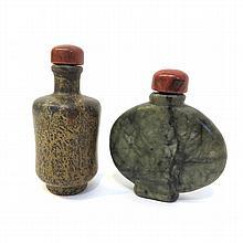 2 Stone Snuff Bottles