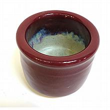 Brush Pot With Thick Oxblood Glaze