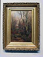F. B. Snow Forest 19th Century Oil On Canvas.
