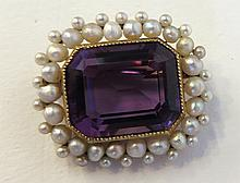 Amethyst And Pearl Pin