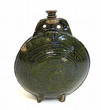 Flask In Dark Green Glaze