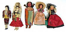 Five Assorted Dressed Dolls.
