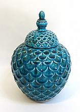 Blue Vase With Fish Scales Texture