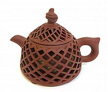 Yixing Teapot With Woven Design