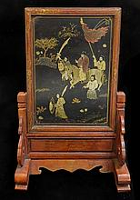 Antique Chinese Lacquer Table Screen