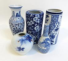Five Assorted Blue And White Vases
