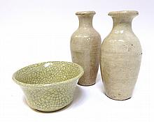 Two Miniature Vases And Crackle Glaze Bowl