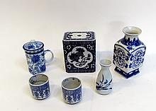Six Porcelain Items In Blue & White