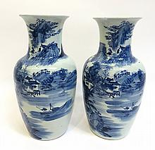 Pair Of Blue And White Antique Vases