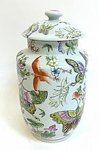 Lidded Floral Vase With Butterflies