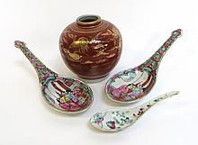 Three Porcelain Spoons And A Vase