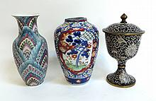 Two Small Vases And A Lidded Chalice.