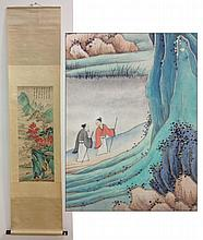 Chinese Figures & Landscape Watercolor Scroll