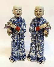 Pair Blue & White Chinese Figures
