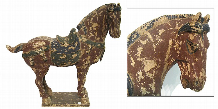 Carved & Multicolor Chinese Wood Horse