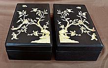 Pair Carved Zitan Wood Ink Boxes