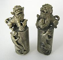 Pair Small Chinese Foo Dog Stamps