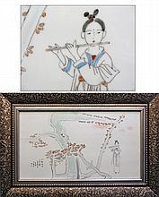 Chinese Framed Porcelain & Enamel Art