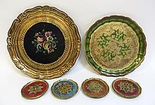 Six Wood Or Papier Mache  Painted Serving Dishes