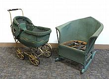Antique Wicker Child's Rocker And Doll Carriage