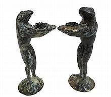 Pair Of Cast Brass Frog Form Candlesticks
