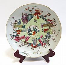 Famille Rose Plate Showing Outdoor Activities