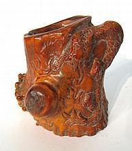 Deer Antler/Horn Carved Brush Pot