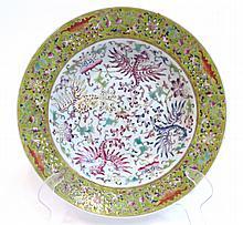 Chinese Famille Rose Phoenix & Bats Plate