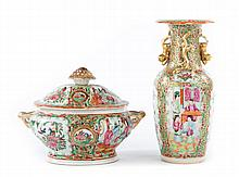 2 Chinese Export Rose Medallion porcelain articles