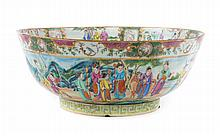Chinese Export Rose Mandarin punch bowl