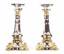 Pr  Royal Crown Derby china Old Imari candlesticks
