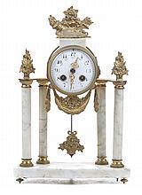 Napoleon III gilt-metal and marble mantel clock