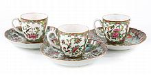 Three Canton decorated European porcelain teacups