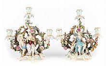 Pair Meissen porcelain figural 3-light candelabra