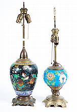 Chinese cloisonne vase lamp and pottery lamp