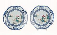 Pair of Chinese Export Famille Rose soup bowls